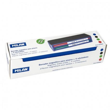 Caja borrador magnético + 4 rotuladores para pizarra blanca
