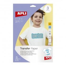 Papel transfer A4 prendas blancas 3 hojas