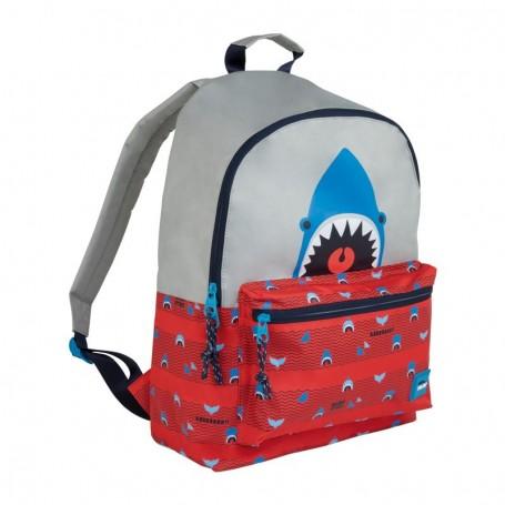 Mochila escolar Shark Attack rojo y gris