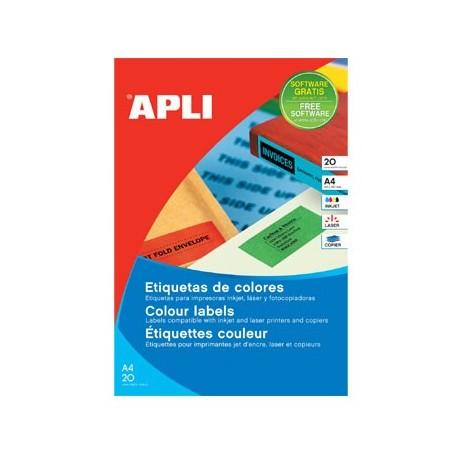 Etiquetas adhesivas Apli A4 cantos rectos color verde 1594 70 x 37mm