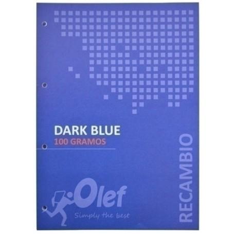RECAMBIO OLEF A4 80h 100gr 4 TALADROS CUADRIC.5x5 AZUL OSCURO