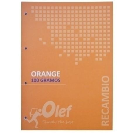 RECAMBIO OLEF A4 80h 100gr 4 TALADROS CUADRIC.5x5 NARANJA