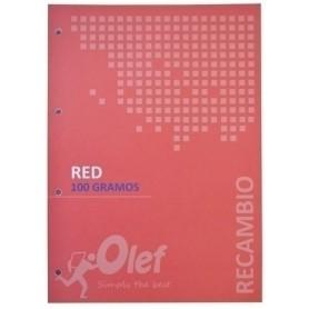RECAMBIO OLEF A4 80h 100gr 4 TALADROS CUADRIC.5x5 ROJO