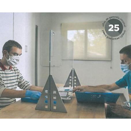 Separador Regulable de Cristal templado de Sobremesa con Pies Triangulares 85x70x26 Con Ventanilla