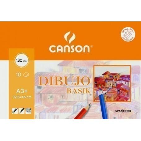 LAMINA GUARRO-CANSON DIBUJO BASIK 130g MINI-PACK de 10 A3+ RECUADRO