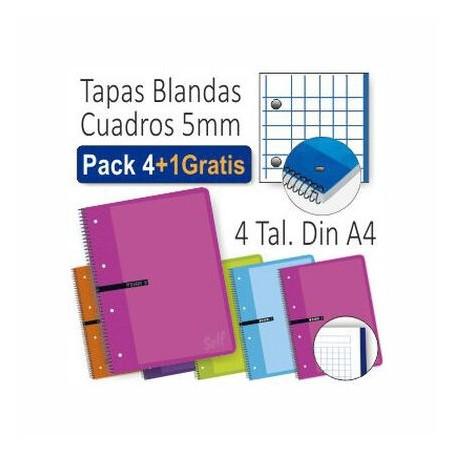 CUADERNOS MICROPE ESPIRAL A4 80h 5X5 ENRI SURT 4+1