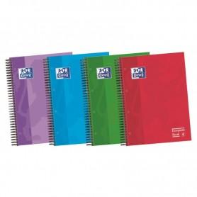 BLOCK OXFORD SCHOOL EU.BOOK 4 SEPARADORES MICRO.TAPA EXTRA A4 120H CUADRIC.5X5 90G SURTIDO (4 COL.) (50% HJS GRATIS)