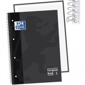 Libreta Espiral Oxford Tapa Extradura Microperforado DIN A4 80 Hojas Cuadros 5mm -Color Negro