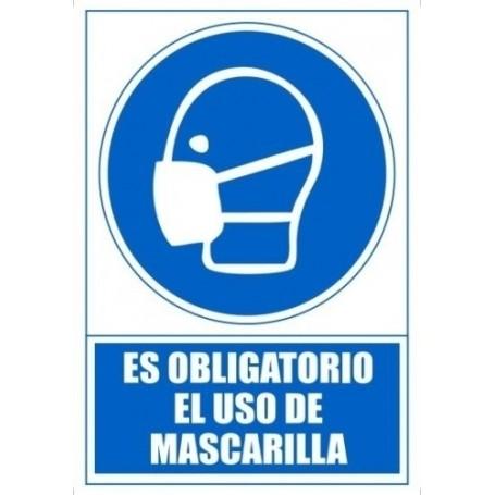 SEÑAL SERIGRAFIADA 1 TINTA AZUL ES OBLIGATORIO EL USO MASCARILLA