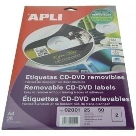 ETIQUETAS ADH.IMPR.APLI A4 MULTIMED.CD-DVD CLASICA CAJA 100h DORSO OPACO Ø ext.114 e int.41 mm 200 uds
