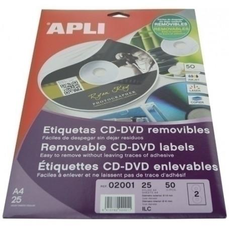 ETIQUETAS ADH.IMPR.APLI A4 MULTIMED.CD-DVD MEGA BLISTER 25h REMOVIBLE MATE Ø ext.117 e int.18 mm 50 uds