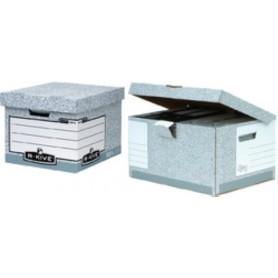 PACK 10 CONTENEDORES de ARCHIVOS FELLOWES BANKERS BOX 430x380x287mm GRIS para 4 archivadores tamaño FOLIO