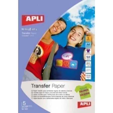 PAPEL INKJET TRANSFER APLI A4 5h para ALGODON OSCURO
