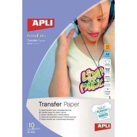 PAPEL INKJET TRANSFER APLI A4 10h para ALGODON BLANCO