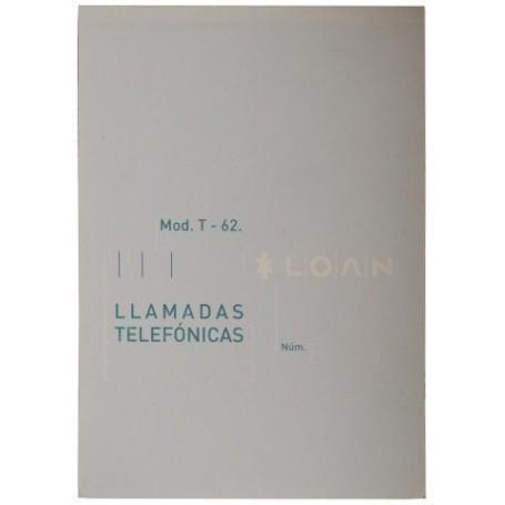 TALONARIO LLAMADAS TELEFONO 8º NATU LOAN