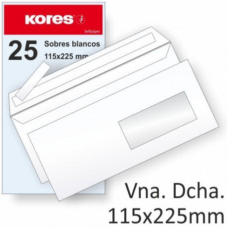 PAQUETE 25 SOBRES VENTANA DERECHA 115X225