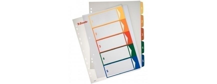 indices y separadores para archivadores y carpetas